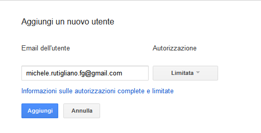 Google webmasters tool inserisci mail